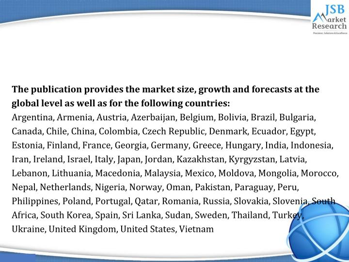 The publication provides the market size, growth and forecasts at the