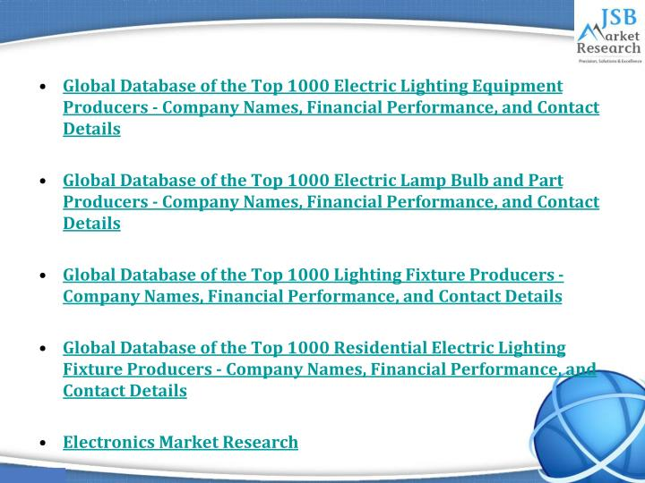 Global Database of the Top 1000 Electric Lighting Equipment Producers - Company Names, Financial Performance, and Contact Details