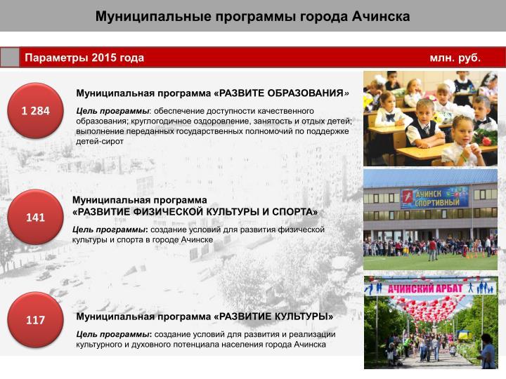 Муниципальные программы города Ачинска