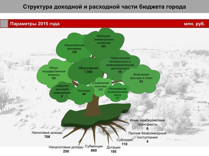 Структура доходной и расходной части бюджета города