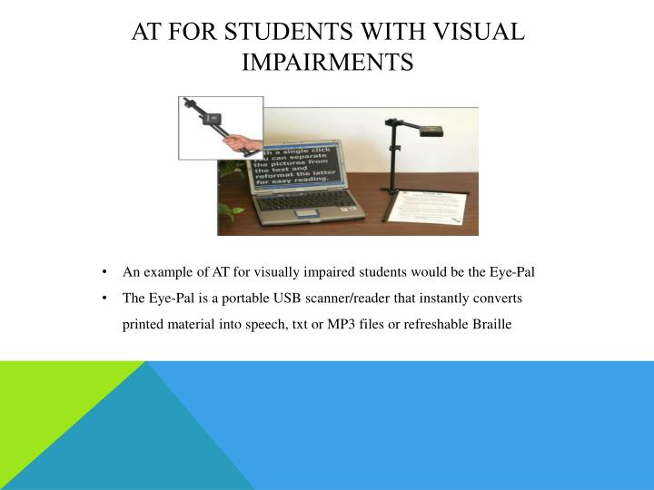 At for students with visual impairments