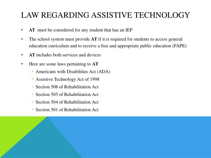 Law regarding Assistive technology