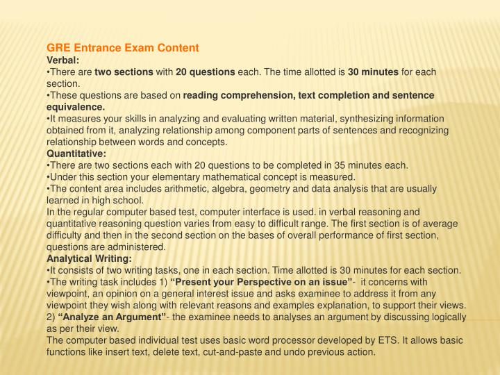 GRE Entrance Exam Content