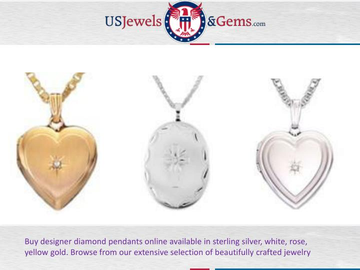 Buy designer diamond pendants online available in sterling silver, white, rose,