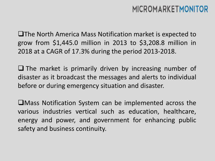 The North America Mass Notification market is expected to grow from $1,445.0 million in 2013 to $3,2...