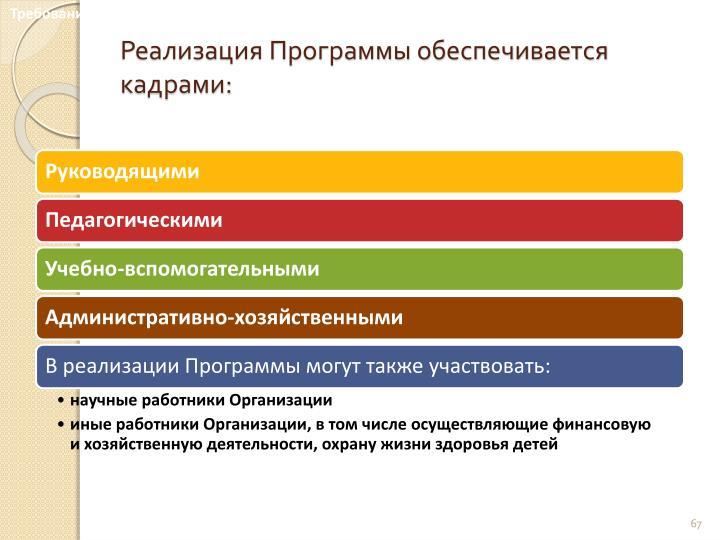 Требования к кадровым условиям реализации Программы