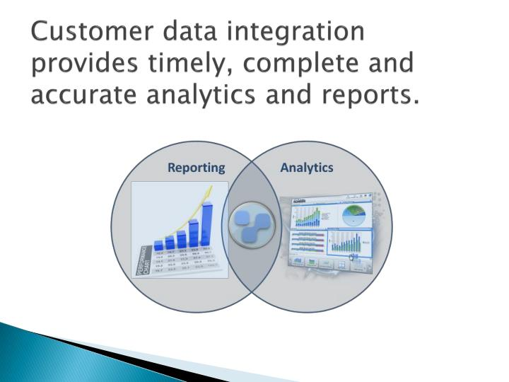 Customer data integration provides timely, complete and accurate analytics and