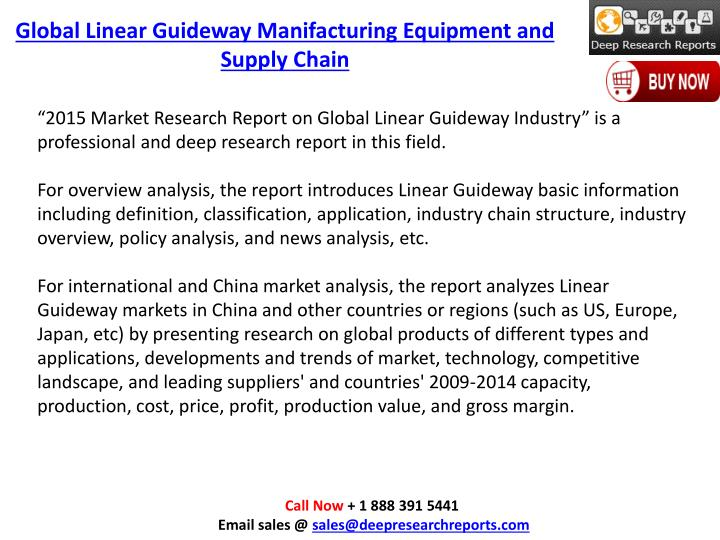 Global Linear Guideway Manifacturing Equipment and Supply Chain