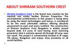 about shriram southern crest