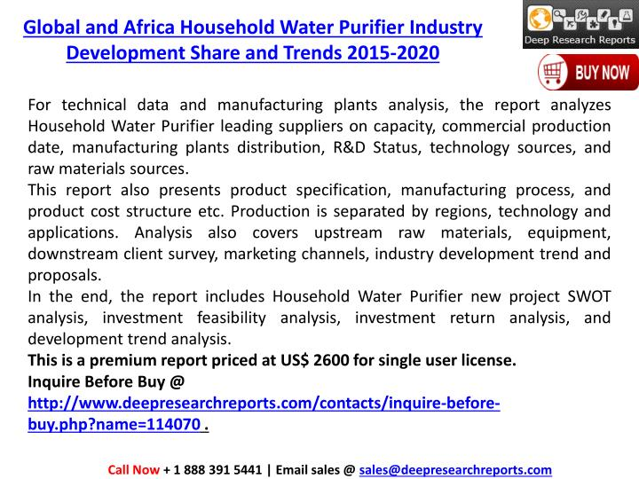 Global and Africa Household Water Purifier Industry Development Share and Trends 2015-2020