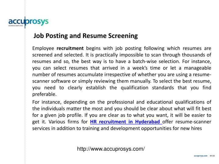 Job Posting and Resume Screening
