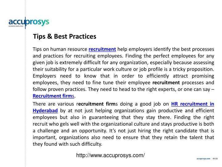 Tips & Best Practices