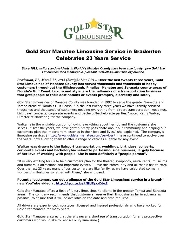 Gold star manatee limousine service in bradenton celebrates