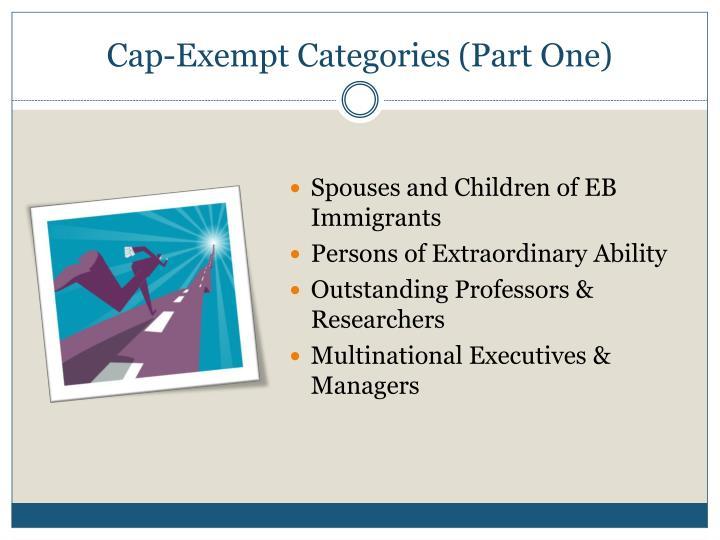 Cap-Exempt Categories (Part One)