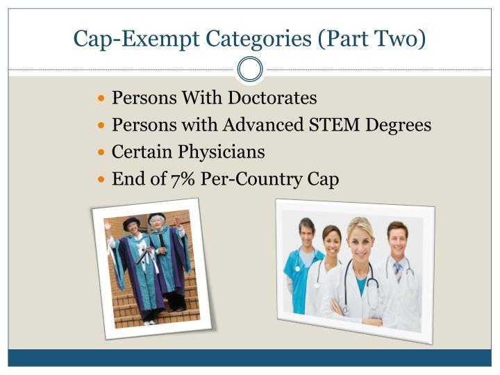 Cap-Exempt Categories (Part Two)