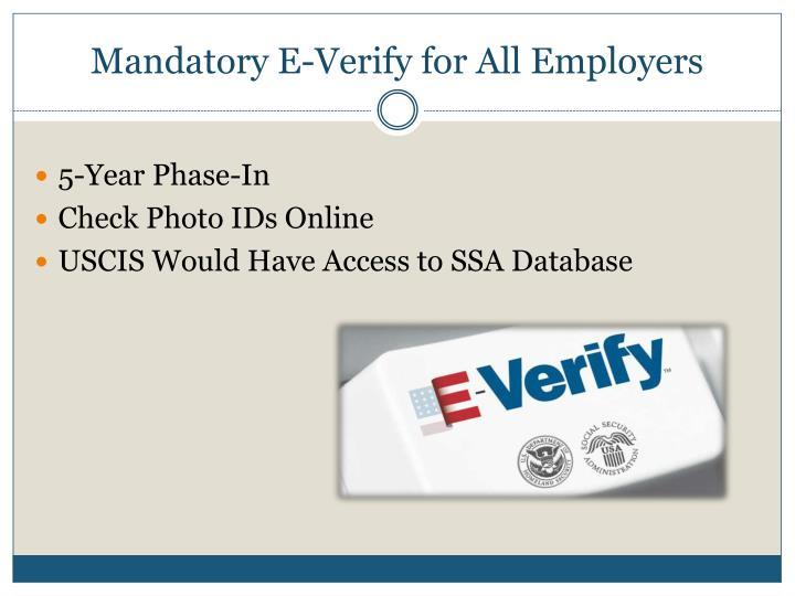 Mandatory E-Verify for All Employers