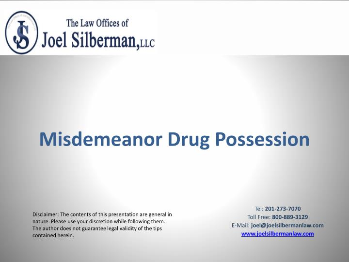 Misdemeanor drug possession