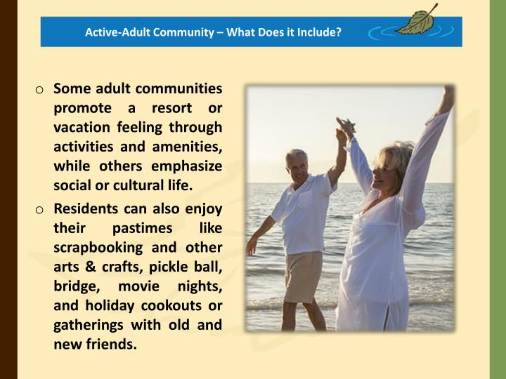 Active-Adult Community – What Does it Include?