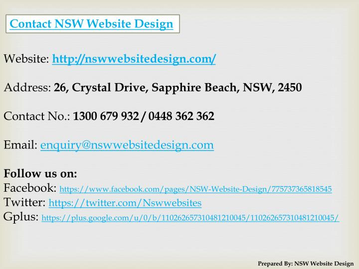 Contact NSW Website Design
