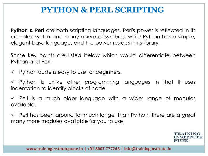 PYTHON & PERL SCRIPTING