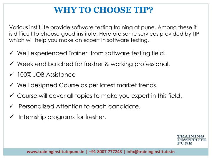 WHY TO CHOOSE TIP?