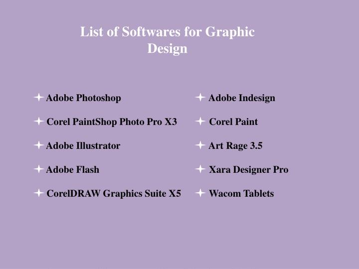 List of Softwares for Graphic Design