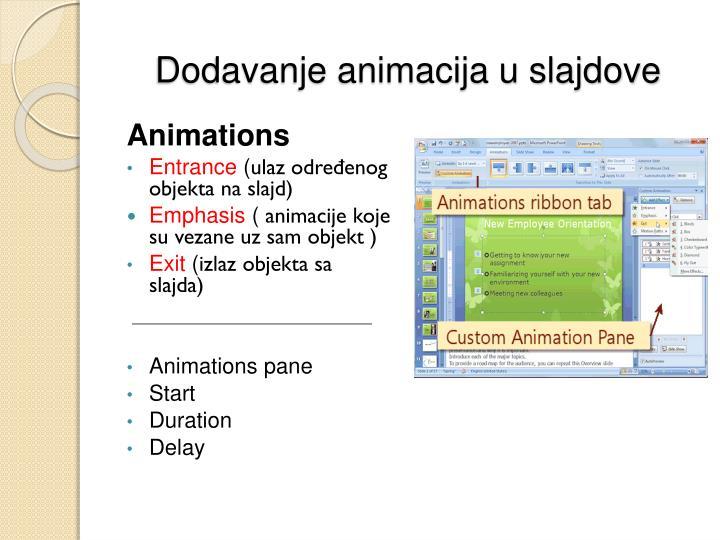 Dodavanje animacija u slajdove