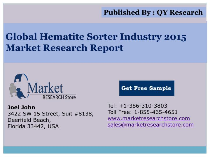 Global hematite sorter industry 2015 market research report