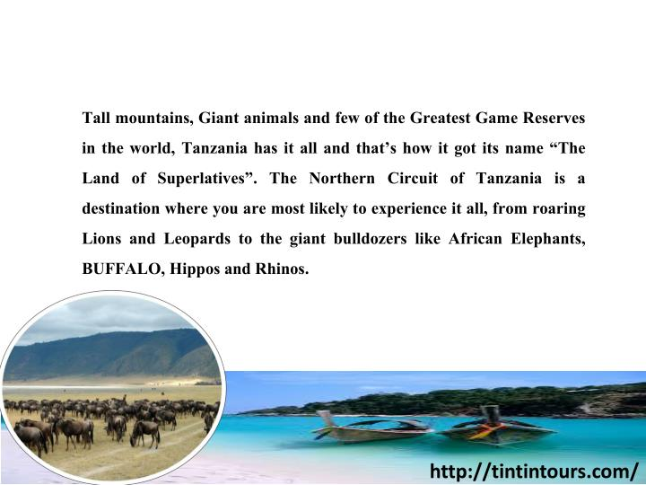 "Tall mountains, Giant animals and few of the Greatest Game Reserves in the world, Tanzania has it all and that's how it got its name ""The Land of Superlatives"". The Northern Circuit of Tanzania is a destination where you are most likely to experience it all, from roaring Lions and Leopards to the"