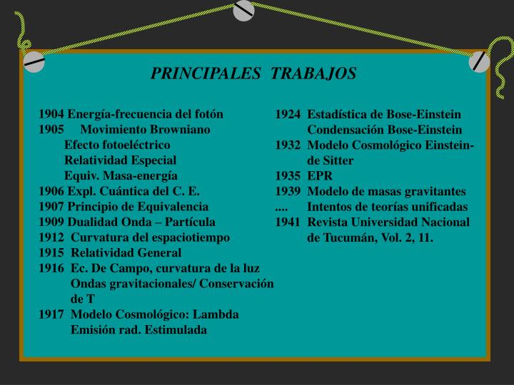 PRINCIPALES  TRABAJOS