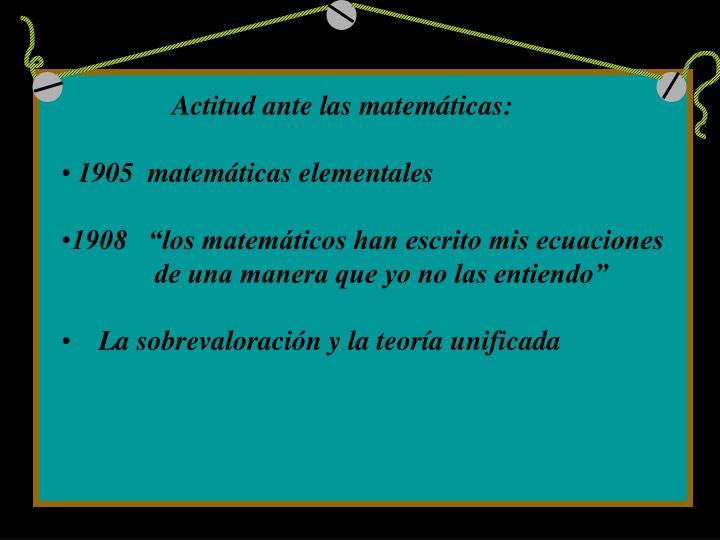 Actitud ante las matemáticas: