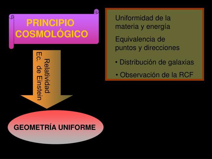 Uniformidad de la materia y energía