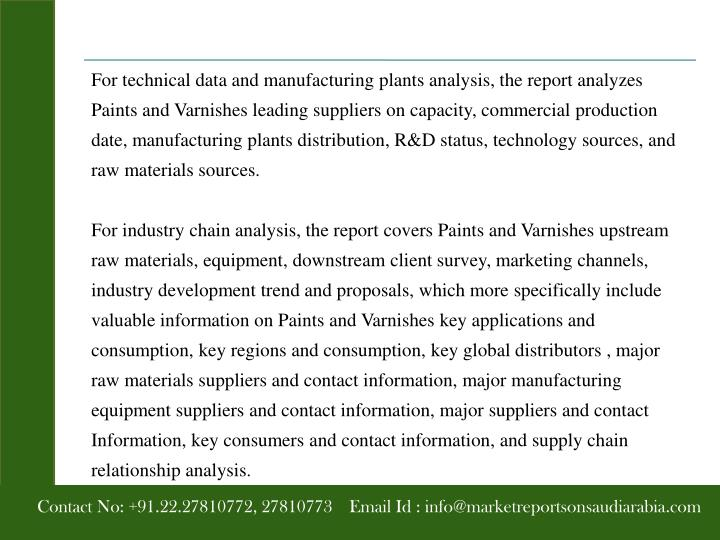 For technical data and manufacturing plants analysis, the report analyzes Paints and Varnishes leading suppliers on capacity, commercial production date, manufacturing plants distribution, R&D status, technology sources, and raw materials sources.