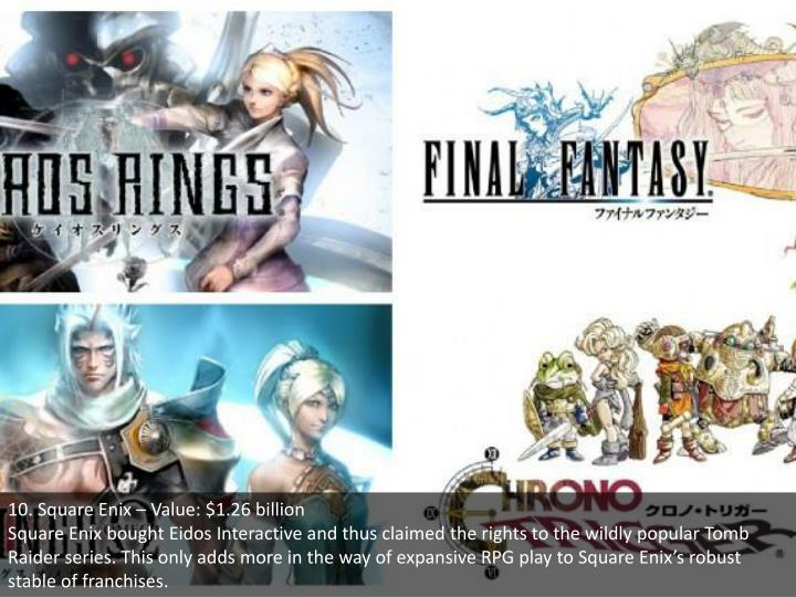 10. Square Enix – Value: $1.26 billion