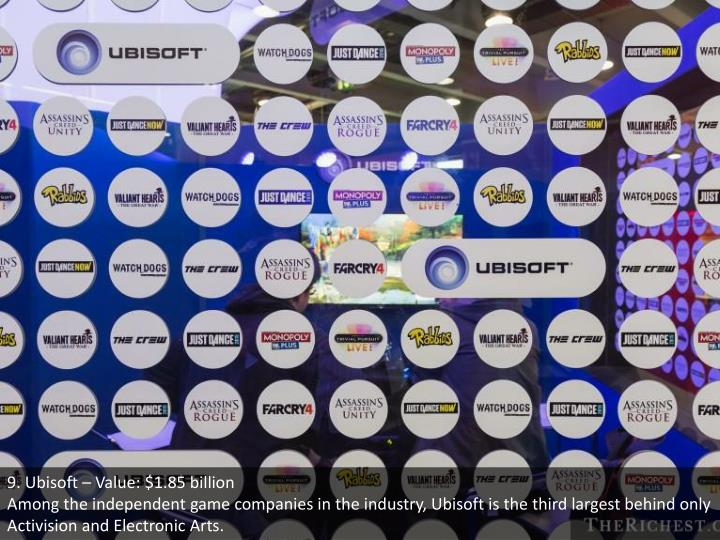 9. Ubisoft – Value: $1.85 billion
