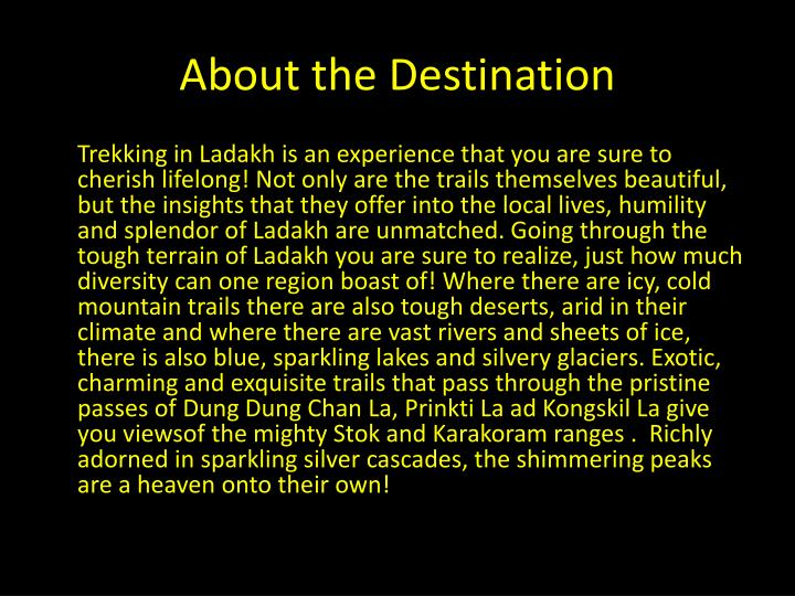 About the destination