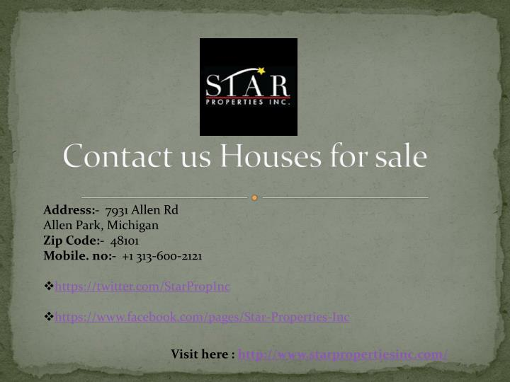 Contact us Houses for sale