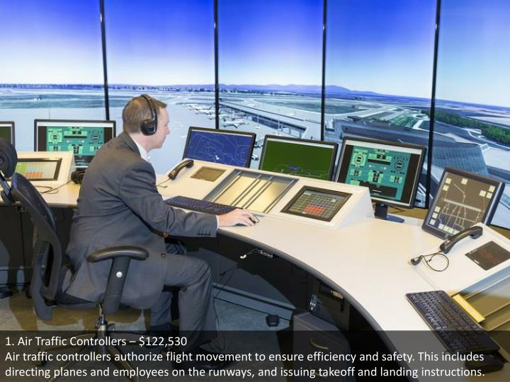 1. Air Traffic Controllers – $122,530