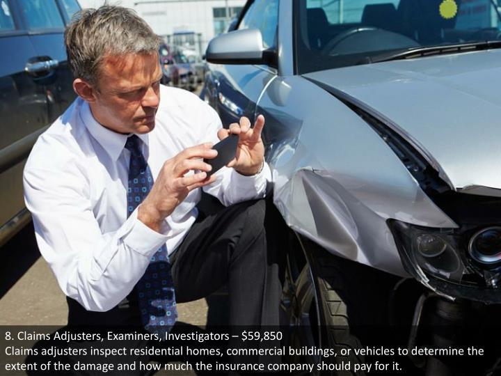 8. Claims Adjusters, Examiners, Investigators – $59,850