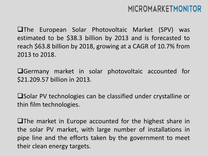 The European Solar Photovoltaic Market (SPV) was estimated to be $38.3 billion by 2013 and is forecasted to reach $63.8 billion by 2018, growing at a CAGR of 10.7% from 2013 to 2018