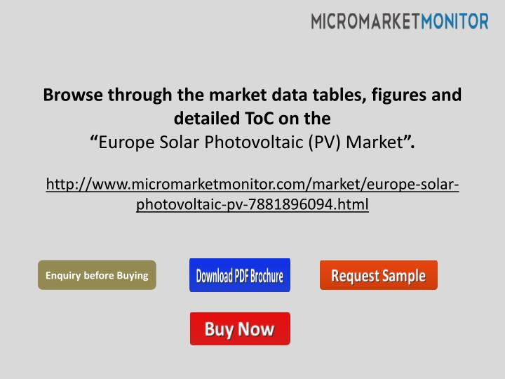 Browse through the market data tables, figures and detailed ToC on the