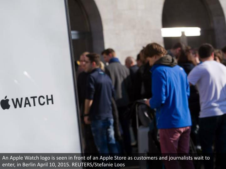 An Apple Watch logo is seen in front of an Apple Store as customers and journalists wait to enter, in Berlin April 10, 2015. REUTERS/Stefanie Loos