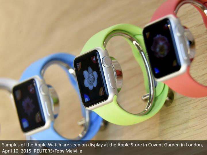 Samples of the Apple Watch are seen on display at the Apple Store in Covent Garden in London, April ...