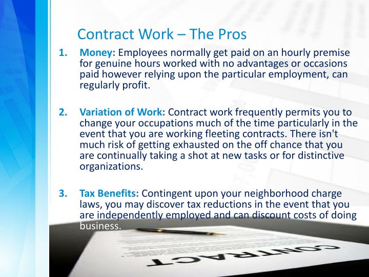 Contract Work – The Pros