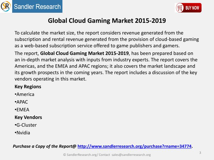 Global cloud gaming market 2015 20192