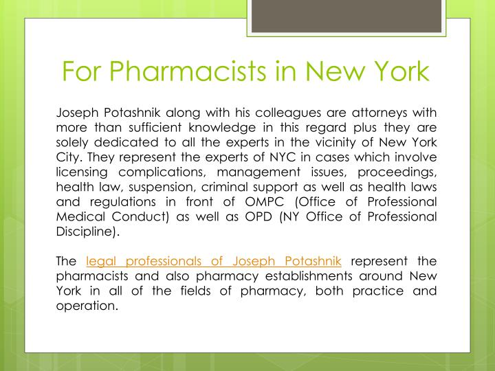For pharmacists in new york1