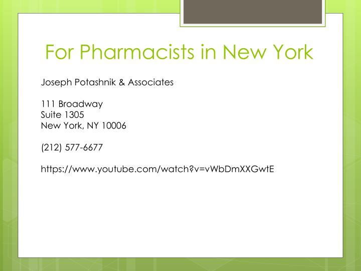 For Pharmacists in New York