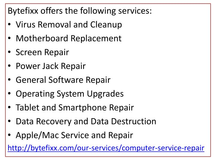 Bytefixx offers the following services
