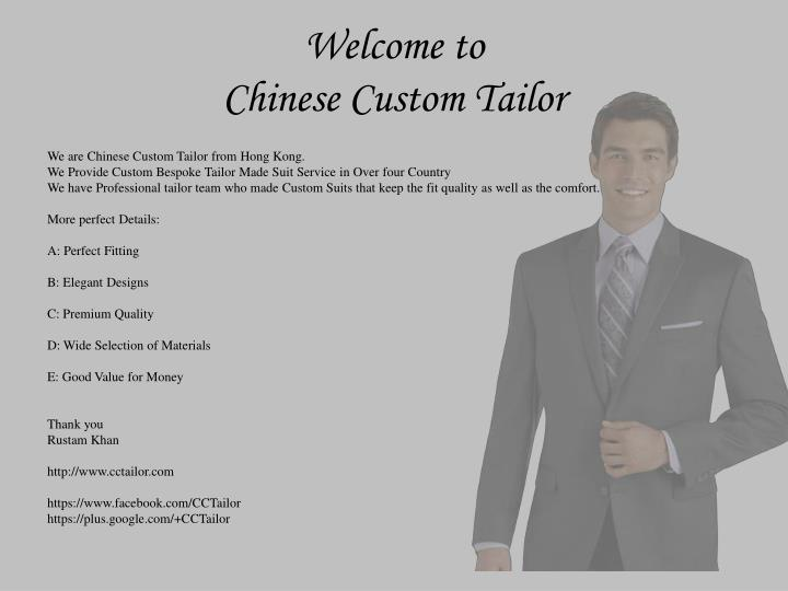 Welcome to chinese custom tailor