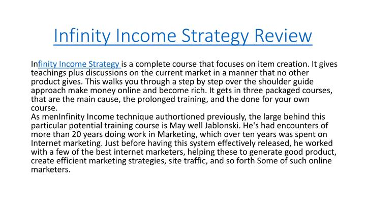 Infinity income strategy review